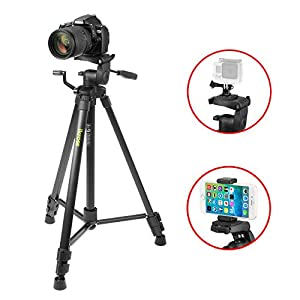 Tablet Tripod Stand, iKross 47-inch Digital Camera Tripod with 4 Adapter For Smartphone ,Gopro , Tablet , DSLR Camera and Carrying Bag