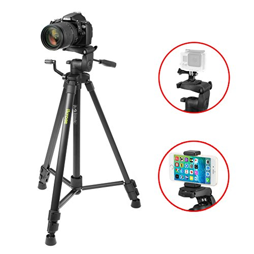 Tripod, iKross 61-inch Professional Light Weight DSLR Tripod with Smartphone Adapters and Carrying Bag