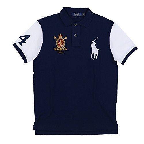 Polo Ralph Lauren Men's Big Pony Crest Custom Slim Fit Mesh Polo Shirt (Large, Navy MU) (Polo Crest Mens)