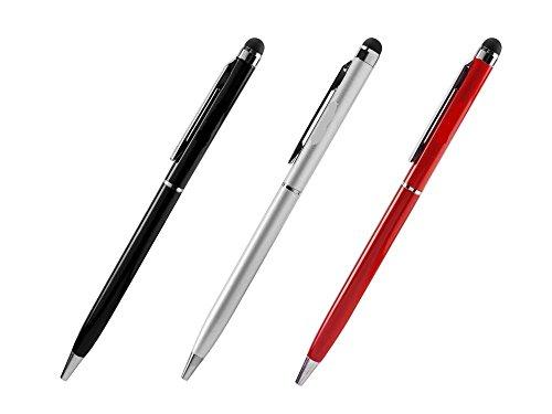 [해외]LG 전자 V20 셀-물건 컴팩트 알루미늄 2 in 1 스타일러스 펜으로 양극 산화 처리 완료 [3 팩 보너스]-실버 레드 & 검정 (3 조 각 콤보 팩) / LG V20 Cell-Stuff Compact Aluminum 2 in 1 Stylus Pens with Anodized Finish [ 3 Pack Bonus] ? Silver...