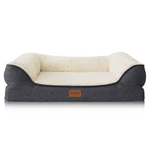 "Petsure Orthopedic Pet Sofa Beds for Small, Medium, Large Dogs & Cats - 36""x27""x7"" Large Dog Beds, Grey - Memory Foam Couch Dog Bed with Removable Washable Cover - Bolster Dog Beds, Nonskid Bottom"