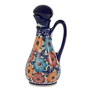 Traditional Polish Pottery, Handcrafted Ceramic Olive Oil or Vinegar Bottle 160ml, Boleslawiec Style Pattern, V.401.Meadow