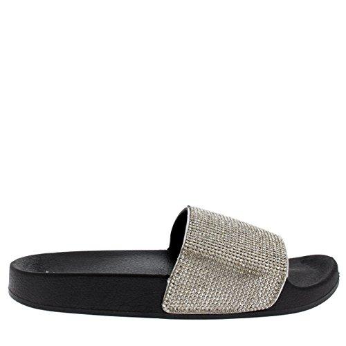Viva Sur Plate Curseurs Femmes Sandales Eté des Shoe Argent Mode Diamante Noir Glisser Mules Forme rArSq0W