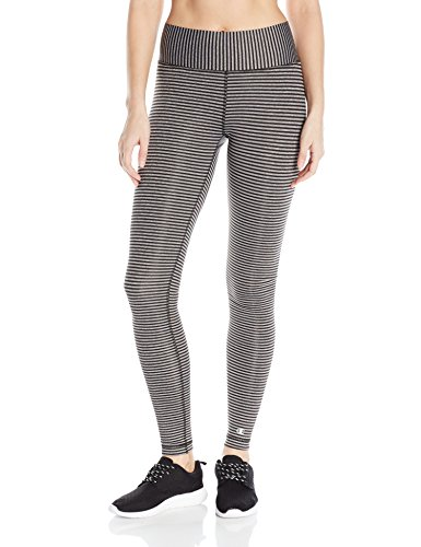 Champion Women's Absolute Legging with SmoothTec Waistband Print, Black Heather Stripe, M