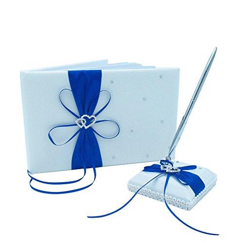 Abbie Home Wedding Guest Book + Pen Stand + Pen Set Ribbon Bowknot Double Heart Rhinestone Décor Party Favor-Royal Blue