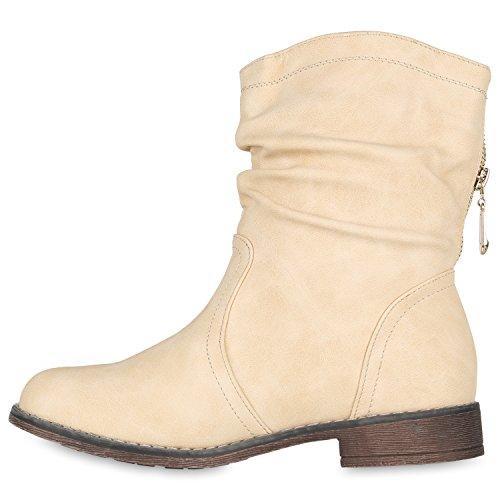 Stiefelparadies Damen Schlupfstiefel Wildleder-Optik Stiefel Schnallen Schuhe Boots Gefütterte Stiefeletten Flandell Creme Brooklyn