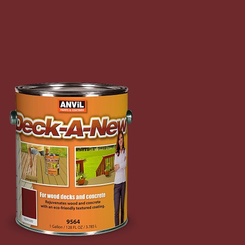 Porch Deck Paint (Anvil Deck-A-New Rejuvenates Wood & Concrete Decks Premium Textured Resufacer, Redwood, 1 Gallon)