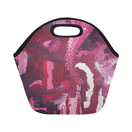Insulated Neoprene Lunch Bag Art Red Graffiti Colors Gradient Large Size Reusable Thermal Thick Lunch Tote Bags For Lunch Boxes For Outdoors,work, Office, School
