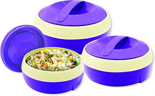 .Princeware Solar Plastic Casserole Set, 3-Pieces, Violet