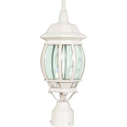 Filament Design 7777977897 Central Park 3-Light White Outdoor Post Lantern with Clear Beveled Glass - Az Glasses Tucson
