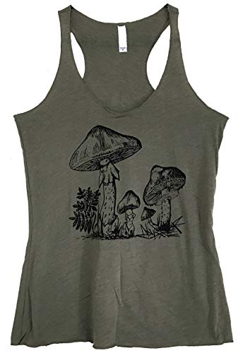 Friendly Oak Women's Mushroom Collection Tank Top - M - Military ()