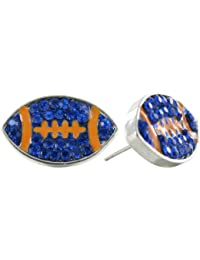 Flat Rhinestone Football Stud Earrings - Royal Blue Crystal Football with Orange Enamel Stripes