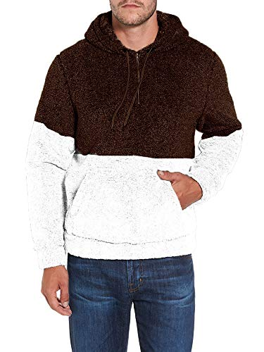 617d311a Mens Sherpa Pullover Hoodie Pebble Pile Fleece Oversized Sweatshirts ...