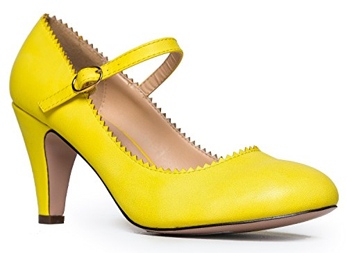 Mary Jane Kitten Heels, Vintage Retro Scallop Round Toe Shoe With An Adjustable Strap, 8.5 B(M) US, Lemon PU
