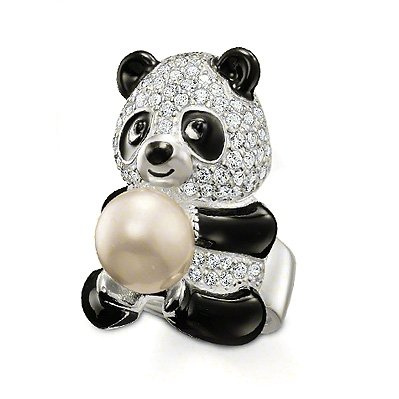Thomas Sabo Sterling Silver Ring 1901 Panda With Pearl Size 7.5