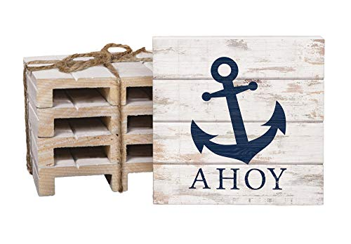 Ahoy Anchor Whitewash 4 x 4 Inch Dried Pine Wood Pallet Coaster, Pack of 4