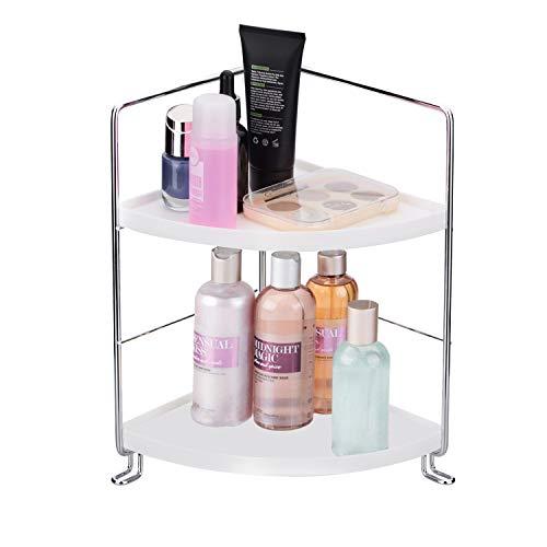 (2-Tier Corner Storage Shelf Stackable Organizer for Cosmetics, Bathroom, Kitchen, Countertop, and Vanity, Silver )