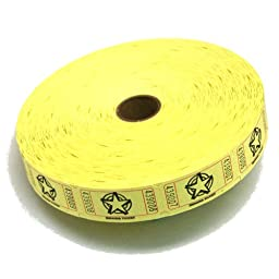 2000 Yellow Star Single Roll Consecutively Numbered Raffle Tickets