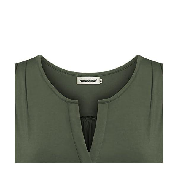 5488046b01067e Nandashe Women Casual Short Sleeve V Neck Loose Fit Plaid Henley ...