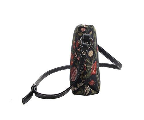 Bolso tapiz de hombro de moda Signare para mujer bolso de mano en bandolera bolso messenger Floral Jardín por la mañana negro