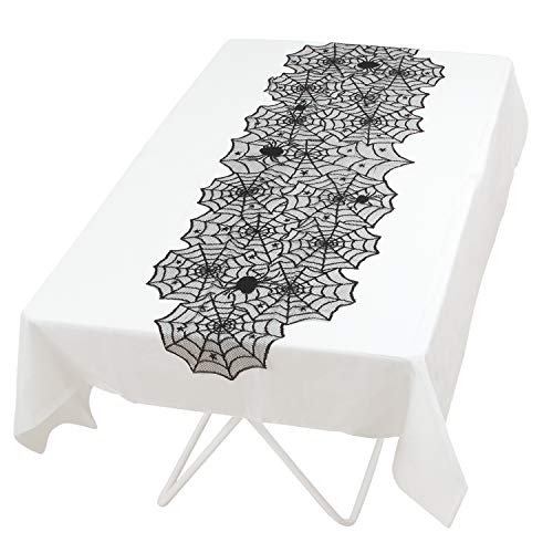 Elcoho 2 Pieces Halloween Black Spider 18×72 Inch Halloween Lace Table Runner Set for Halloween Table Decorations 1 Black Overlay 1 White Liner -