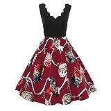 Weiyun Women Fashion Sleeveless V-Neck Christmas Cats Print Vintage Flare Swing Dress