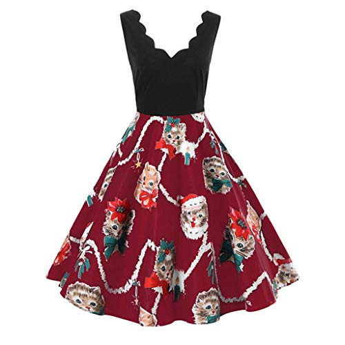 19f18dfe6 Weiyun Women Fashion Sleeveless V-Neck Christmas Cats Print Vintage Flare  Swing Dress
