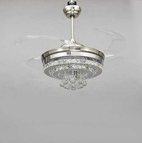 KHSKX Personality Crystal stealth ceiling fan light, stylish dining room living room fan chandelier, European-style stealth fan light by KHSKX (Image #1)'
