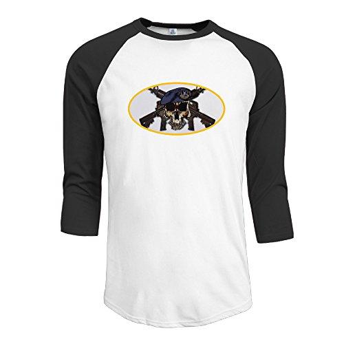 (Men's Raglan SF Skull W Crossed Rifles Round Neck Shirts Tee 3/4 Sleeve)