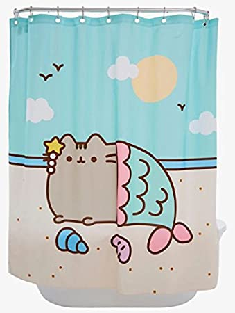 Amazon.com: Pusheen Mermaid Shower Curtain 100% Polyester 66 x 69 inches Machine Washable: Home & Kitchen