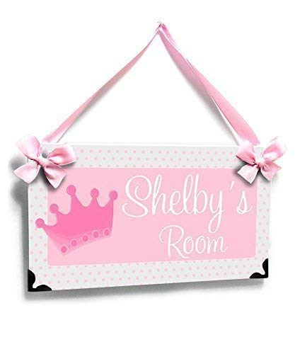 Door Plaque for Girls Dorms Pink and Grey Small Dots with a Pink Princess Crown