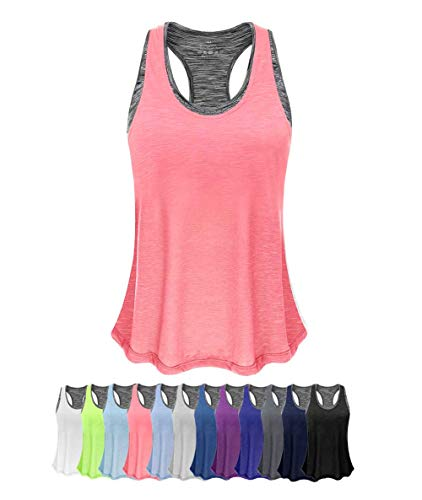 Women Tank Top with Built in Bra, Lightweight Yoga Camisole for Workout Gym Fitness(Pink&Gray Bra, L)
