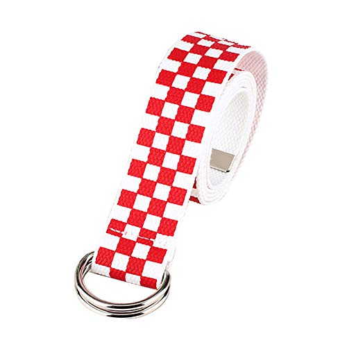 Shineweb Casual Men Women Checkerboard Canvas D Ring Belt Plaid Waist Strap Waistband Red