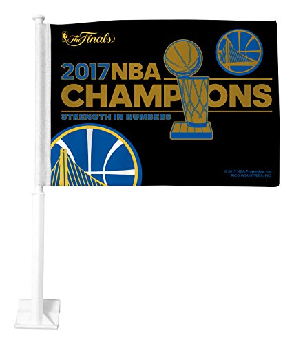 Royal Blue Car Flag - Rico Industries NBA Golden State Warriors 2017 Basketball Champions Car Flag, 3-inch by 5-inch, Royal Blue, Gold