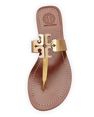 998ae0f45 Tory Burch Moore Logo Sandal Gold (5)