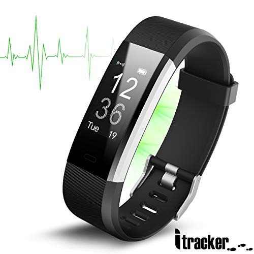 ITRACKER Fitness Tracker [2019], Activity Tracker Watch with Heart Rate Monitor, Waterproof Smart Bracelet with Step Counter, Calorie Counter, Pedometer Watch for Kids Women and Men (Black)