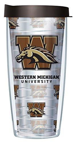 Michigan Logo Mug - Western Michigan University Repeat Logo Clear 22 Oz Traveler Tumbler Mug with Lid
