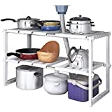 2 Tiers Expandable Kitchen Storage Multi-Functional Rack Adjustable Stainless Steel Under Sink Organizer Storage Shelf…