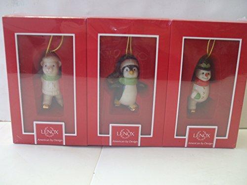 Lenox Skating Friends Ornaments Set of 3 - Penguin,Snowman and Bear Hanging - Lenox Skating