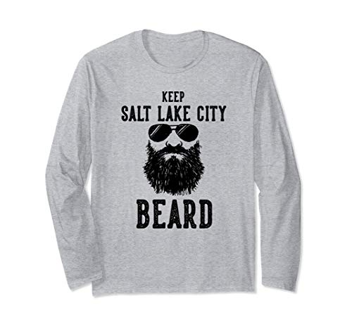 Keep Salt Lake City Utah BEARD Funny Hipster Retro  Long Sleeve ()