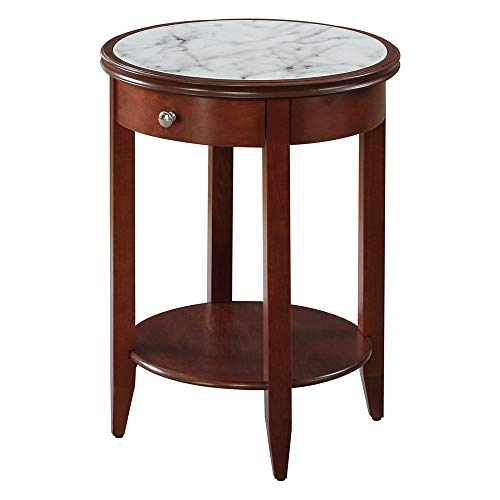Convenience Concepts American Heritage Baldwin End Table with Drawer, Mahogany/Faux Marble (Storage Coffee Mahogany Table With)