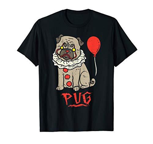 Pugs Wearing Halloween Costumes (Scary Pug Clown Balloon Horror Movie Halloween Costume Dog)