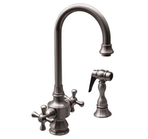 Whitehaus WHKSDCR3-8104-ACO Vintage-3 5 1/4-Inch Dual Handle Bar Faucet with Gooseneck Swivel Spout, Cross Handles and Side Spray, Antique Copper (Aco Dual Handle Faucet)