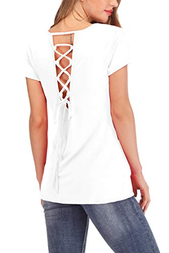 2XL Tops for Women Short Sleeve Pullover Round Neck Criss Cross Shirts White (Cross Pullover)