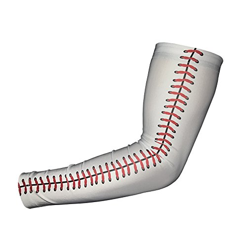 Unreal Sportswear Sports Compression Arm Sleeve - Baseball Football Basketball - Youth and Adult Sizes from (Youth Large, Baseball Lace)