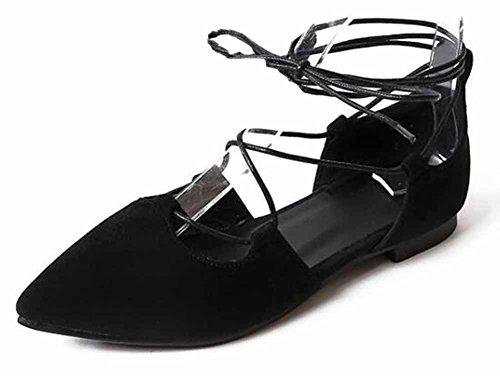 SHOWHOW Womens Elegant Suede Pointed Toe Low Top Self-tie Flats Heel Pumps Shoes Black wdW5Gx
