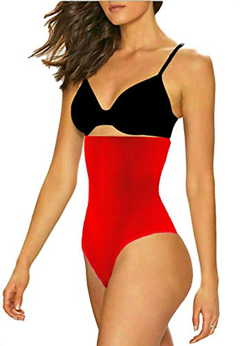ShaperQueen 102 Open Best Womens Waist Cincher Body Shaper Trimmer Trainer Girdle Faja Bodysuit Short Slip Tummy Control Brief Corset Plus Size Underwear Shapewear Thong (Red, M)