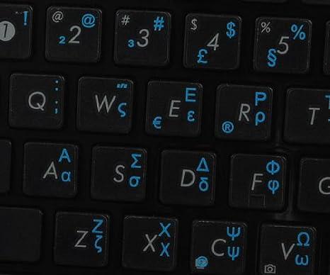 Griechische transparente Tastaturaufkleber mit Weißer Buchstaben - Geeignet für jede Tastatur