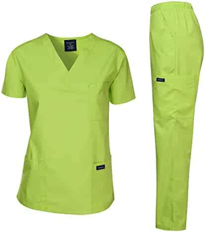 Dagacci Medical Uniform Women's Medical Scrub Set Top and Pant, Applegreen, L