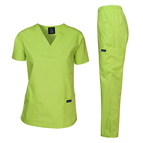(Dagacci Medical Uniform Women's Medical Scrub Set Top and Pant, Applegreen,)